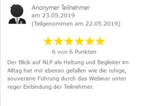 Bewertung zum Webinar NLP als Einstellung