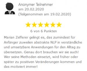 Bewertung Webinar Einführung in das Neurolinguistische Programmieren (NLP)