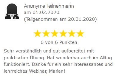 Bewertung Webinar Silvester-Phänomen 2